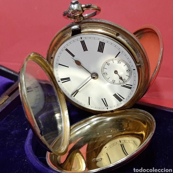 Relojes de bolsillo: RELOJ INGLÉS SEMICATALINO DE PLATA J. SEWILL, CON MARCAS, FUNCIONADO. - Foto 4 - 218187706