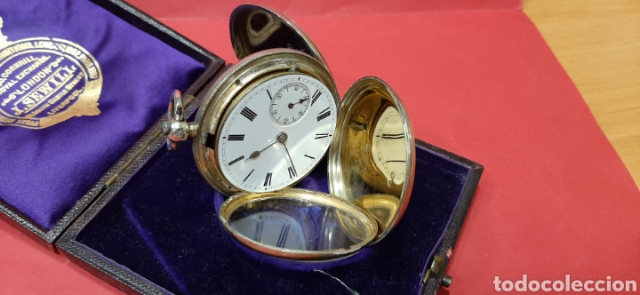 Relojes de bolsillo: RELOJ INGLÉS SEMICATALINO DE PLATA J. SEWILL, CON MARCAS, FUNCIONADO. - Foto 6 - 218187706