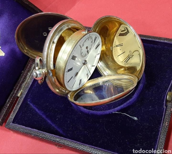 Relojes de bolsillo: RELOJ INGLÉS SEMICATALINO DE PLATA J. SEWILL, CON MARCAS, FUNCIONADO. - Foto 9 - 218187706
