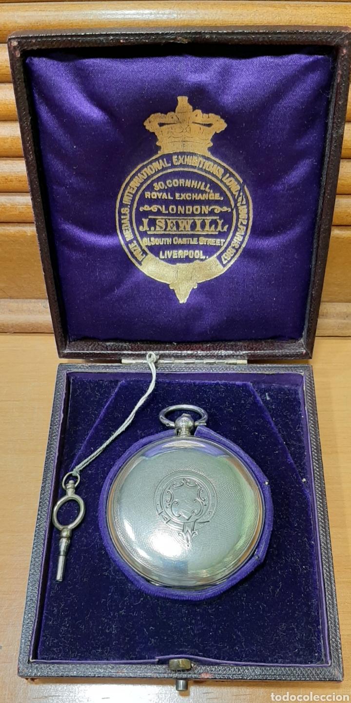 Relojes de bolsillo: RELOJ INGLÉS SEMICATALINO DE PLATA J. SEWILL, CON MARCAS, FUNCIONADO. - Foto 11 - 218187706