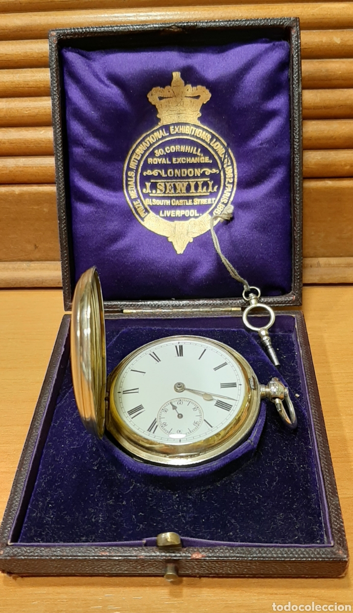 RELOJ INGLÉS SEMICATALINO DE PLATA J. SEWILL, CON MARCAS, FUNCIONADO. (Relojes - Bolsillo Carga Manual)