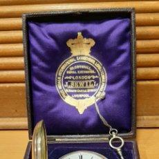 Relojes de bolsillo: RELOJ INGLÉS SEMICATALINO DE PLATA J. SEWILL, CON MARCAS, FUNCIONADO.. Lote 218187706