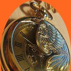 Relojes de bolsillo: RELOJ BOLSILLO AUTOMATICO DIAL COLOR ORO.. Lote 219179767