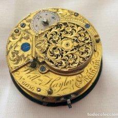 Relojes de bolsillo: MAQUINA Y ESFERA RELOJ CATALINO VERGE FUSEE WILLIAM HAYLER SIGLO XVIII. Lote 220395962