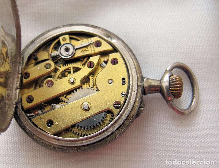 Relojes de bolsillo: DOS RELOJES DE BOLSILLO DE PLATA - Foto 2 - 220757982