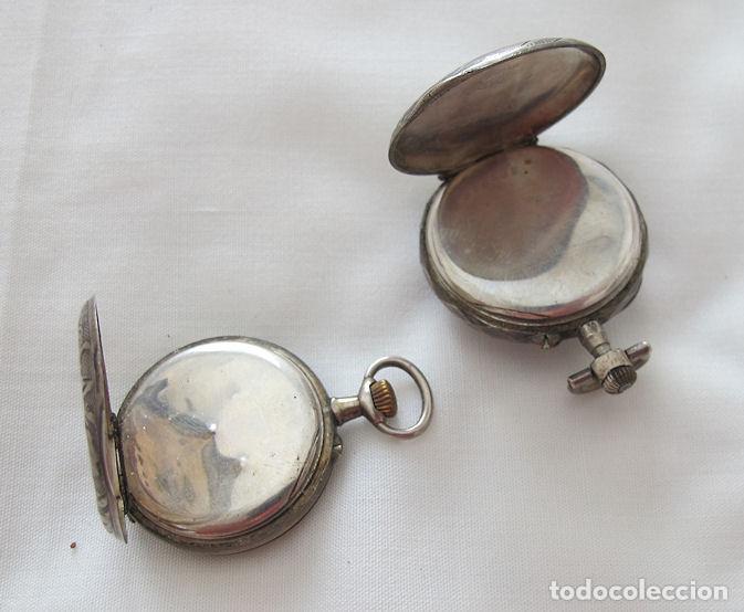Relojes de bolsillo: DOS RELOJES DE BOLSILLO DE PLATA - Foto 3 - 220757982