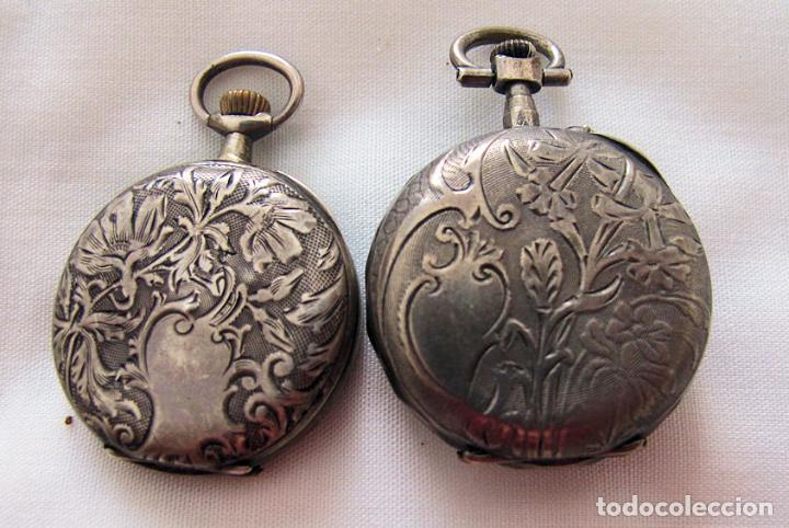 Relojes de bolsillo: DOS RELOJES DE BOLSILLO DE PLATA - Foto 4 - 220757982