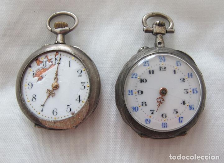 DOS RELOJES DE BOLSILLO DE PLATA (Relojes - Bolsillo Carga Manual)