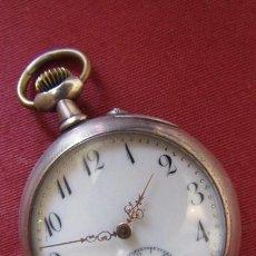 Relojes de bolsillo: RELOJ ANTIGUO DE BOLSILLO MECÁNICO SUIZO DE PLATA A CUERDA MANUAL AÑO PERIODO 1880 - 1900 Y FUNCIONA. Lote 221290470