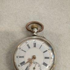 Relojes de bolsillo: RELOJ DE BOLSILLO DE PLATA 800, CAJA GALONNE. FUNCIONA. Lote 221705860