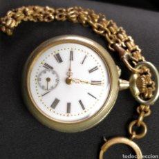 Relojes de bolsillo: ANTIGUO RELOJ DE BOLSILLO AGUJAS DE ORO CON LEONTINA FUNCIONA SIGLO XIX. Lote 221781496