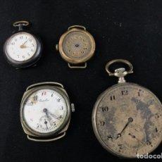 Relojes de bolsillo: S-LOTE DE 4 RELOJES PARA PIEZAS , EL GRANDE DE BOLSILLO EN PLATA. Lote 221975076