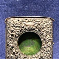 Relojes de bolsillo: CAJA RELOJERA PORTA RELOJES DE BOLSILLO PIEL Y PLATA INGLESA BIRMINGHAM PPIO S XX 8,5X8CMS. Lote 222563995