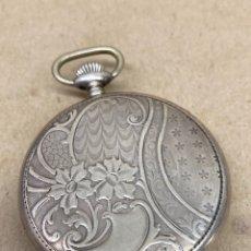 Relojes de bolsillo: RELOJ PLATA 800 MISTERIA DE BOLSILLO CARGA MANUAL EN FUNCIONAMIENTO. Lote 222590278