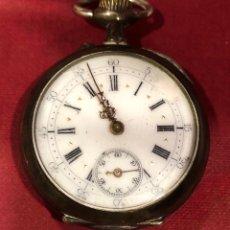 Relojes de bolsillo: ANTIGUO RELOJ DE BOLSILLO DE PLATA. FINALES S.XIX. Lote 222884480