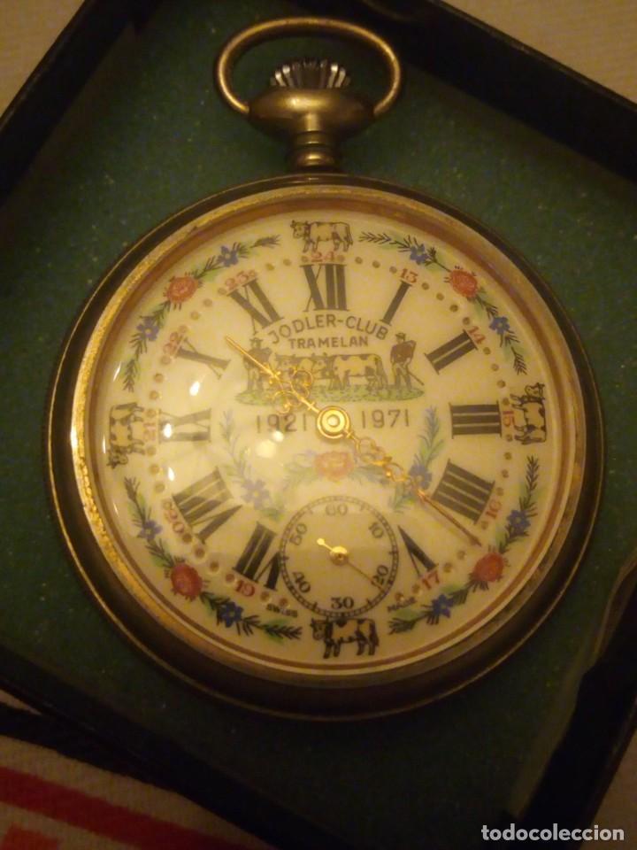ANTIGUO RELOJ CRONÓGRAFO DE BOLSILLO JODLER CLUB TRAMELAN ,SWISS MADE 1821 -1971,MUY DECORADO.40S (Relojes - Bolsillo Carga Manual)