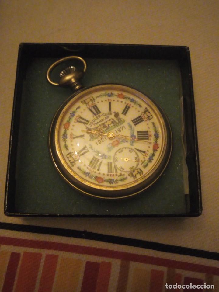 Relojes de bolsillo: Antiguo reloj cronógrafo de bolsillo jodler club tramelan ,swiss made 1821 -1971,muy decorado.40s - Foto 2 - 223732157
