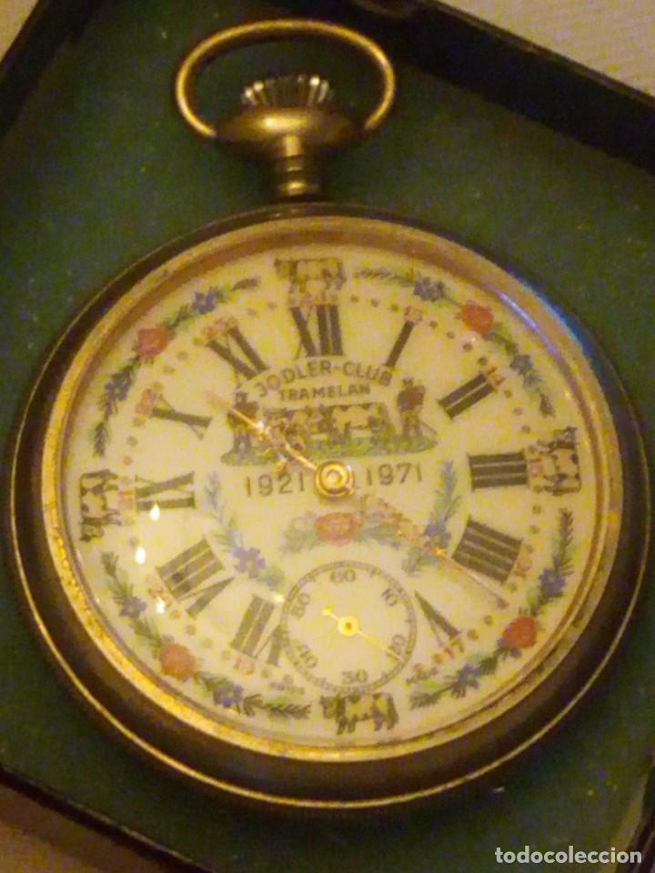 Relojes de bolsillo: Antiguo reloj cronógrafo de bolsillo jodler club tramelan ,swiss made 1821 -1971,muy decorado.40s - Foto 4 - 223732157