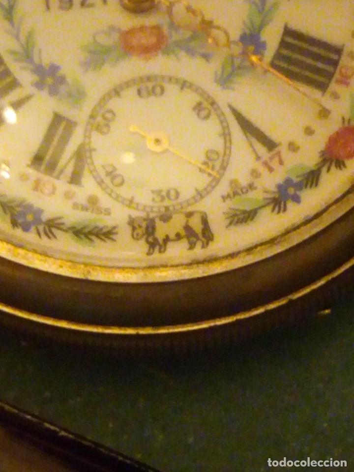 Relojes de bolsillo: Antiguo reloj cronógrafo de bolsillo jodler club tramelan ,swiss made 1821 -1971,muy decorado.40s - Foto 5 - 223732157
