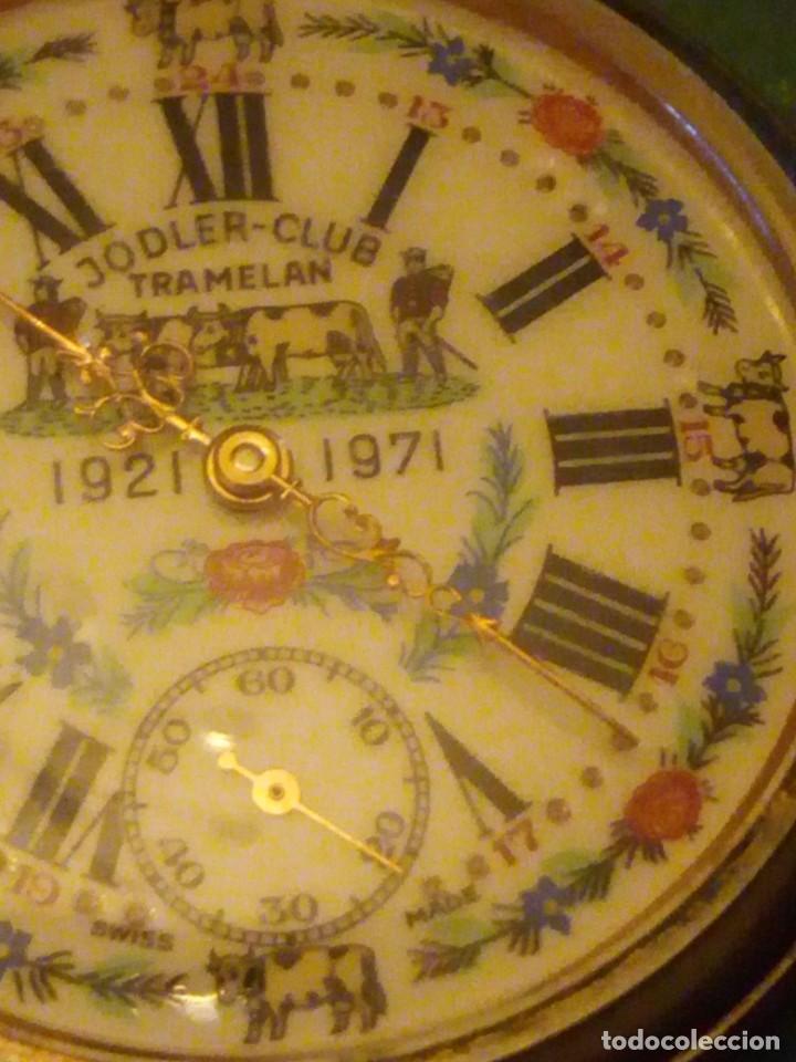 Relojes de bolsillo: Antiguo reloj cronógrafo de bolsillo jodler club tramelan ,swiss made 1821 -1971,muy decorado.40s - Foto 6 - 223732157