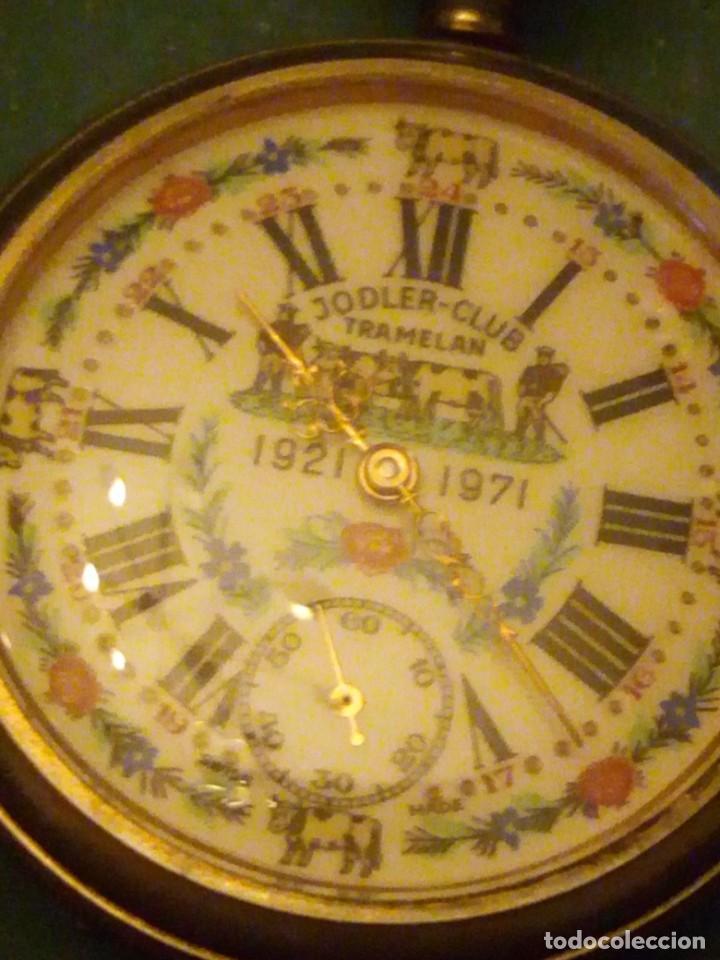 Relojes de bolsillo: Antiguo reloj cronógrafo de bolsillo jodler club tramelan ,swiss made 1821 -1971,muy decorado.40s - Foto 9 - 223732157