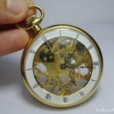 Relojes de bolsillo: BONITO Y ORIGINAL RELOJ DE BOLSILLO. HALCON. CARGA MANUAL. CON MAQUINARIA COMPLETAMENTE VISIBLE.. Lote 224035943