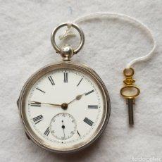 Relojes de bolsillo: GRAN RELOJ DE PLATA INGLES FUNCIONANDO LLAVE INCLUIDA SXIX CONROY COUCH TORQUAY. Lote 224180350