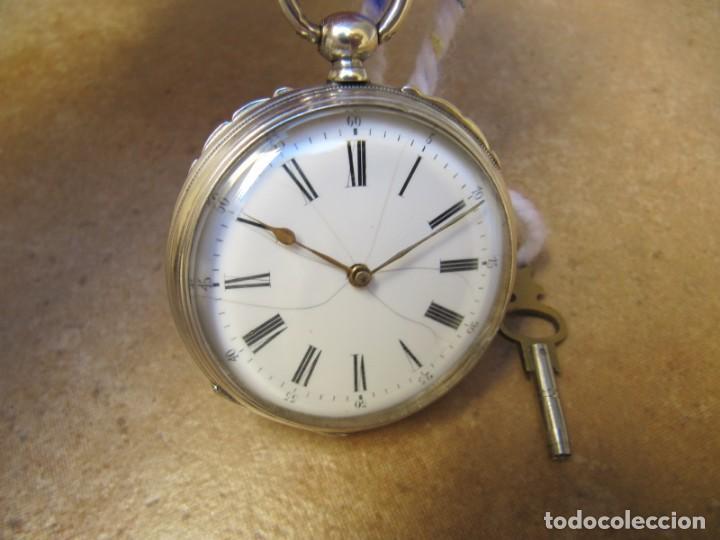 Relojes de bolsillo: ANTIGUO RELOJ DE CUERDA DE BOLSILLO DE PLATA DE LLAVE. - Foto 2 - 224534018