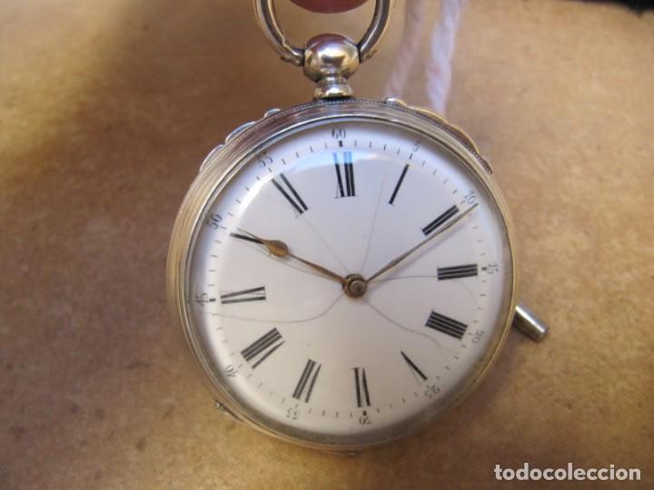 Relojes de bolsillo: ANTIGUO RELOJ DE CUERDA DE BOLSILLO DE PLATA DE LLAVE. - Foto 3 - 224534018