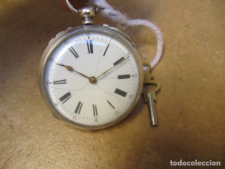 Relojes de bolsillo: ANTIGUO RELOJ DE CUERDA DE BOLSILLO DE PLATA DE LLAVE. - Foto 4 - 224534018