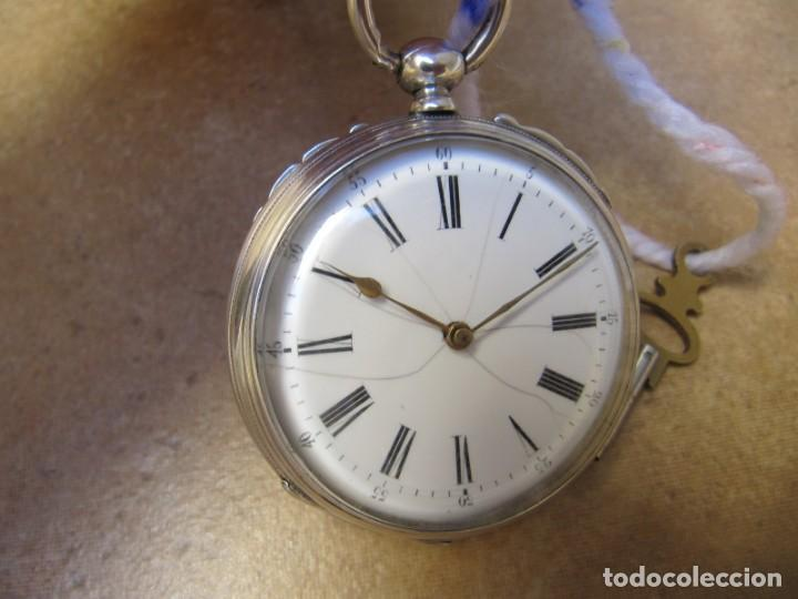 Relojes de bolsillo: ANTIGUO RELOJ DE CUERDA DE BOLSILLO DE PLATA DE LLAVE. - Foto 5 - 224534018
