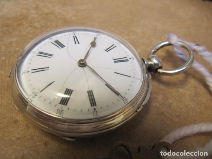 Relojes de bolsillo: ANTIGUO RELOJ DE CUERDA DE BOLSILLO DE PLATA DE LLAVE. - Foto 6 - 224534018