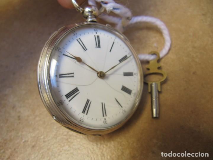 Relojes de bolsillo: ANTIGUO RELOJ DE CUERDA DE BOLSILLO DE PLATA DE LLAVE. - Foto 8 - 224534018