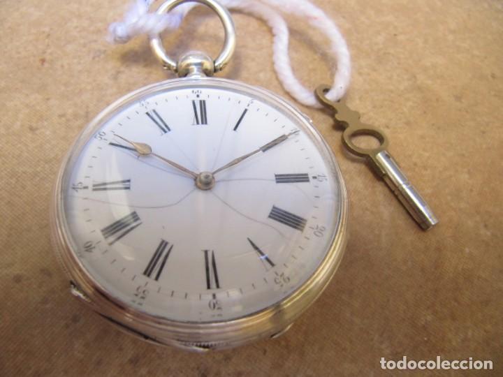 Relojes de bolsillo: ANTIGUO RELOJ DE CUERDA DE BOLSILLO DE PLATA DE LLAVE. - Foto 11 - 224534018