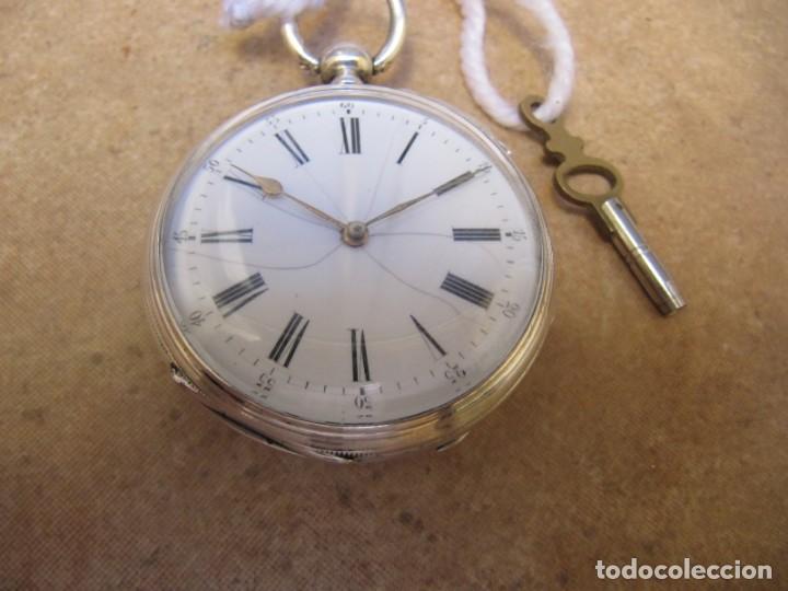 Relojes de bolsillo: ANTIGUO RELOJ DE CUERDA DE BOLSILLO DE PLATA DE LLAVE. - Foto 13 - 224534018