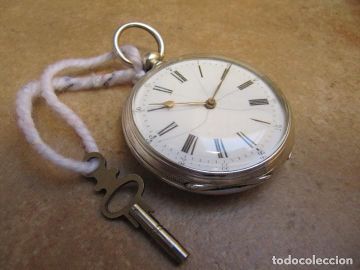 Relojes de bolsillo: ANTIGUO RELOJ DE CUERDA DE BOLSILLO DE PLATA DE LLAVE. - Foto 14 - 224534018