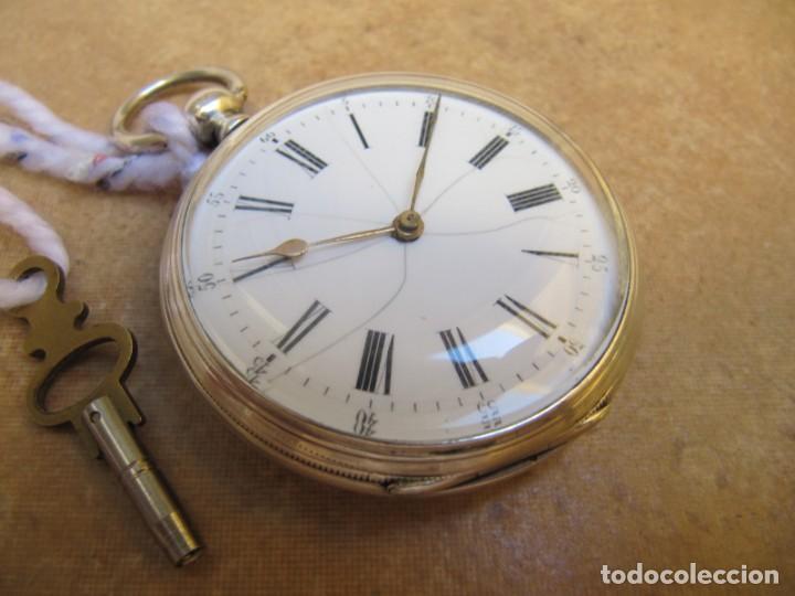 Relojes de bolsillo: ANTIGUO RELOJ DE CUERDA DE BOLSILLO DE PLATA DE LLAVE. - Foto 15 - 224534018