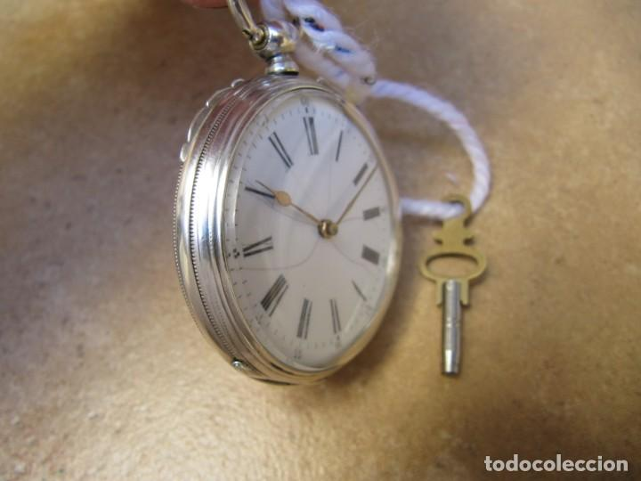 Relojes de bolsillo: ANTIGUO RELOJ DE CUERDA DE BOLSILLO DE PLATA DE LLAVE. - Foto 16 - 224534018