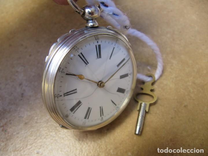 Relojes de bolsillo: ANTIGUO RELOJ DE CUERDA DE BOLSILLO DE PLATA DE LLAVE. - Foto 17 - 224534018