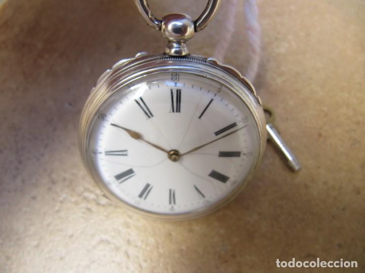 Relojes de bolsillo: ANTIGUO RELOJ DE CUERDA DE BOLSILLO DE PLATA DE LLAVE. - Foto 19 - 224534018