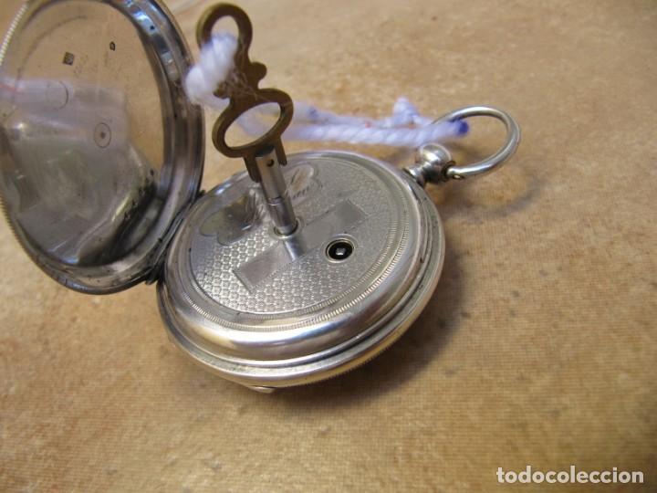 Relojes de bolsillo: ANTIGUO RELOJ DE CUERDA DE BOLSILLO DE PLATA DE LLAVE. - Foto 21 - 224534018