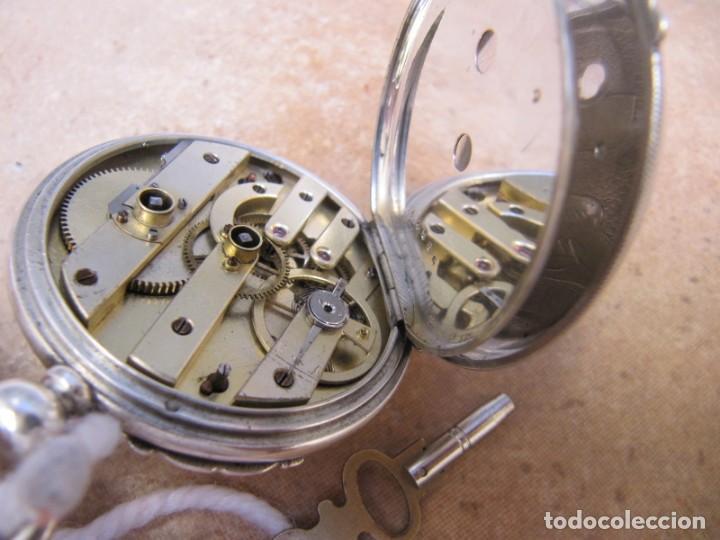 Relojes de bolsillo: ANTIGUO RELOJ DE CUERDA DE BOLSILLO DE PLATA DE LLAVE. - Foto 33 - 224534018