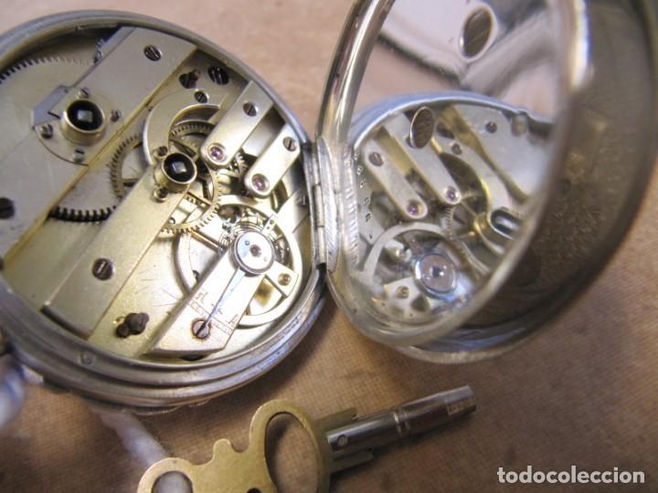 Relojes de bolsillo: ANTIGUO RELOJ DE CUERDA DE BOLSILLO DE PLATA DE LLAVE. - Foto 34 - 224534018