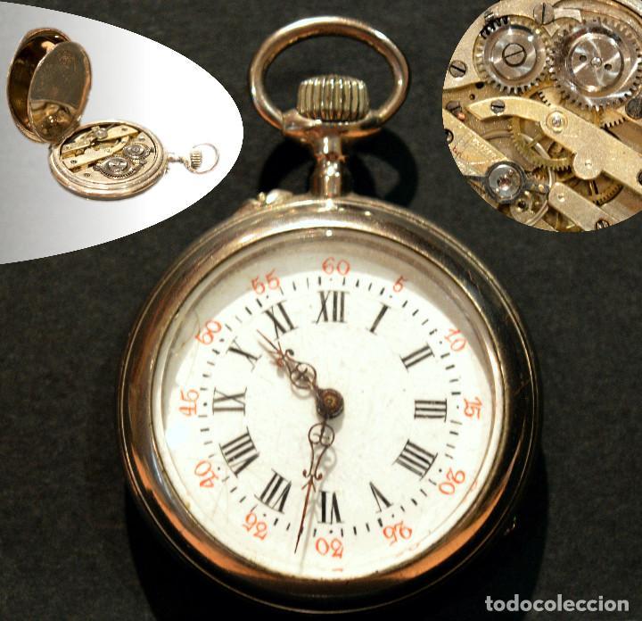 ANTIGUO RELOJ DE BOLSILLO LEPINE CARGA MANUAL ESFERA DE PORCELANA (Relojes - Bolsillo Carga Manual)