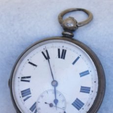 Relojes de bolsillo: GRAN RELOJ DE BOLSILLO TIPO INGLES PLATA 53MM ANDA Y PARA. Lote 225021532