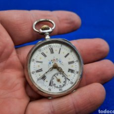 Relojes de bolsillo: ANTIGUO RELOJ DE BOLSILLO A CUERDA DE PLATA. Lote 226671136