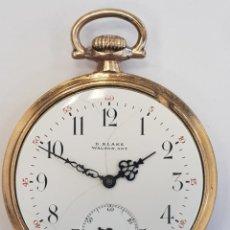 Relojes de bolsillo: RELOJ LEPINE CHAPADO ORO. BLAKE WALTON ONTARIO (CANADÁ). C.1920. CON BONITO GRABADO. FUNCIONANDO. Lote 227761097
