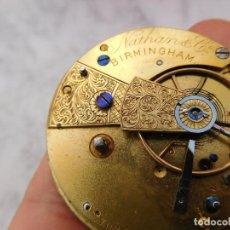 Relojes de bolsillo: MECANISMO SEMICATALINO DE RELOJ DE BOLSILLO NATHAN & CO. BIRMINGHAM 1880 APROX. Lote 227885895