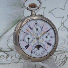 Relojes de bolsillo: 5 ESFERAS-CALENDARIO Y FASE LUNAR-RELOJ DE BOLSILLO DE PLATA-1890-FUNCIONANDO. Lote 228158930