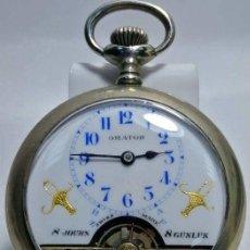 Relojes de bolsillo: HEBDOMAS 8 DÍAS ORATOR LUJO MAGNIFICO RELOJ BOLSILLO FUNCIONANDO ---636,00 €. Lote 228944240